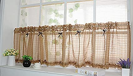 1 pc short curtain tulle semi-shade kitchen cabinet curtain for living room  kitchen Door & Window Screens : W140cm X H35cm