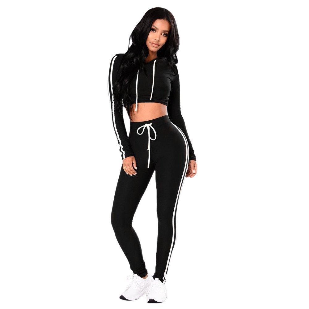 Triskye Womens Casual Sportswear Set Fitness Hoodies Tracksuit Long Sleeve Crop Tops+Long Pants Ladies Shirts Blouse