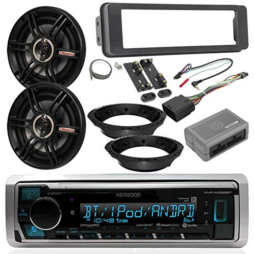 Select 1996-13/2006-13 Harley Davidson Stereo Install Kit - Kenwood Digital Media Radio, 2X Crunch 6.5