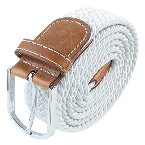 Moonsix Braided Elastic Belts for Men,PU Leather Stretch Fabric Woven Web Belt ,Style 1-White (Pink Leather Belt Strap)