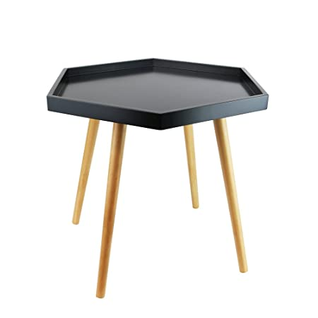Hexagonal Coffee Table With Raised Edge   Scandinavian Design   Colour BLACK