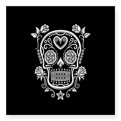CafePress White Sugar Skull with Roses on Black Sticker Square Sticker 3 x 3 -