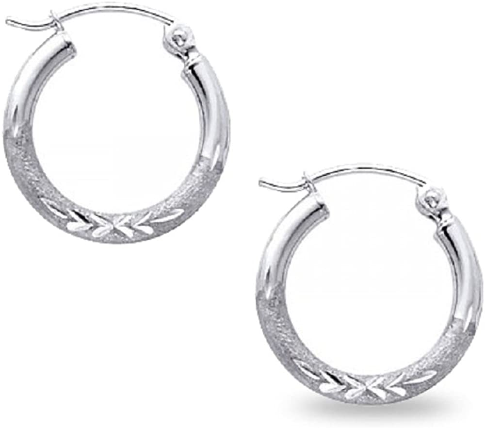 14k White Gold Round Hoop Earrings Diamond Cut Polished Finish French Lock