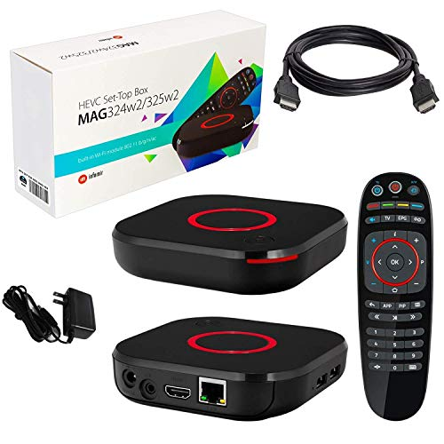 MAG 324 W2 IPTV Box 4K Support + in Built Dual WiFi + HDMI Cable + Remote + Power Adapter