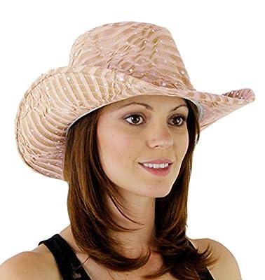 Greatlookz Fashion Glitter Sequin Trim Cowboy Hat for Ladies
