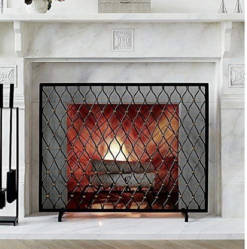 """単一パネルの錬鉄製暖炉スクリーン、大きな黒い金属製暖炉のスタンディングゲート、幾何学的なスタイルの装飾、38.6""""L×30.7"""" H"""