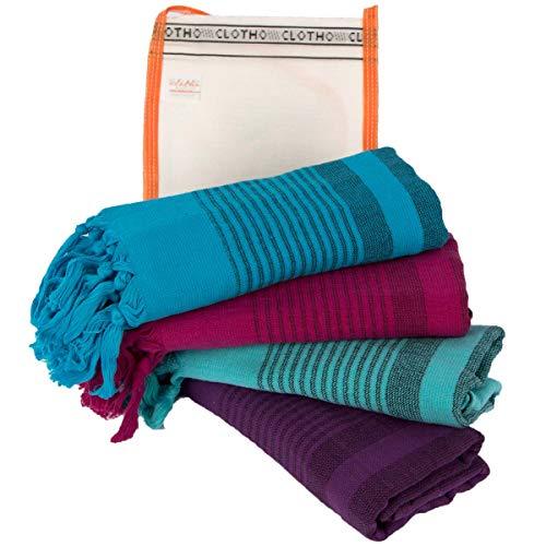 d Towel Gym Towels 100% Cotton Large Size 20 x 40 Peshtemal Decorative Bathroom (Variety, Pack of 4) ()