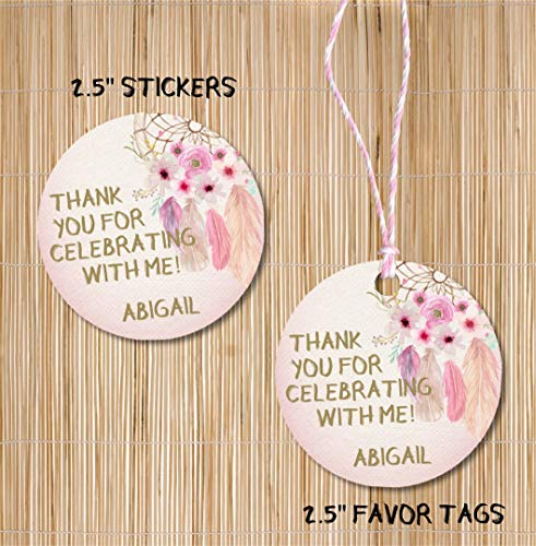 - Pastel Dreamcatcher Feather Boho Birthday Party Stickers or Favor Tags