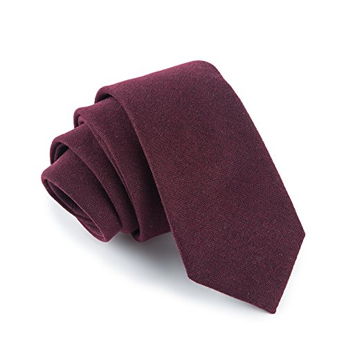 Fan-tastik Mens Eco-friendly Handmade Cashmere Wool Slim Tie 2.4'' (6cm) Solid Color [ Wine Red ]