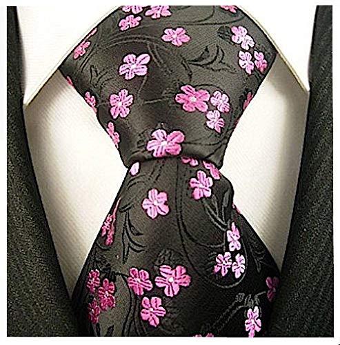Floral Ties for Men - Woven Necktie - Mens Black Pink Ties Flower Neck Tie