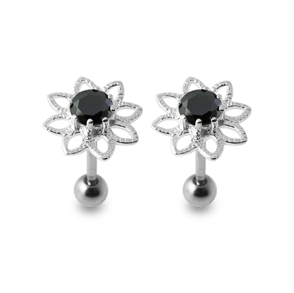 Black Gems Stone Fancy Flowers 925 Sterling Silver Ear Piercing jewelry with 16Gx5/16(1.2x8MM) 316L Surgical Steel Barbell and 4MM Ball. Sold by Pair