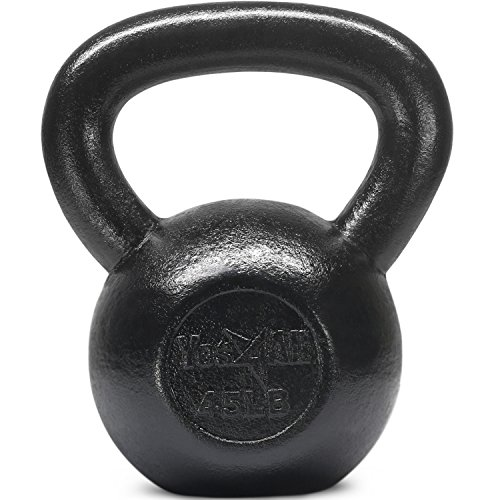 UPC 817802024628, Yes4All Solid Cast Iron Kettlebell Weights Set – Great for Full Body Workout and Strength Training – Kettlebell 45 lbs (Black)