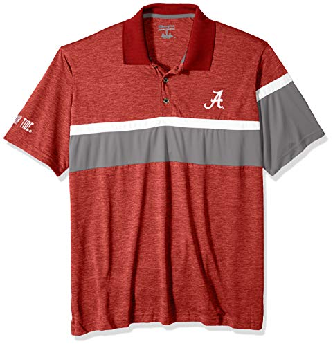 (NCAA Alabama Crimson Tide Mens NCAA Men's Short Sleeve Striped Polo Collared Teechampion NCAA Men's Short Sleeve Striped Polo Collared Tee, Pro Brick Garnet,)