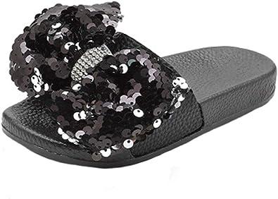 HONGTEYA Girls Glitter Slides Slippers