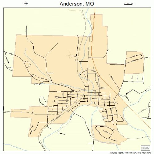 Amazon.com: Large Street & Road Map of Anderson, Missouri MO