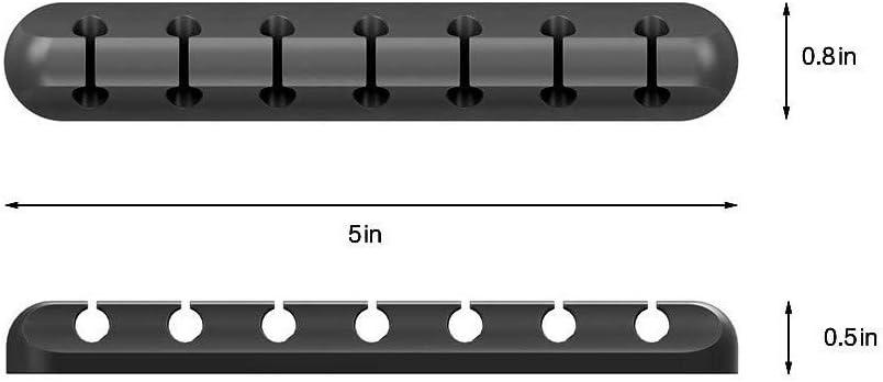 Noir TuHao Clip de c/âble de Bureau avec diviseur /à 7 Fentes,Fil de Bureau rang/é Fil USB Chargeur Cordon Ligne fixateur Titulaire Fil Wrap Enrouleur Organisateur collecteur pour Le Bureau