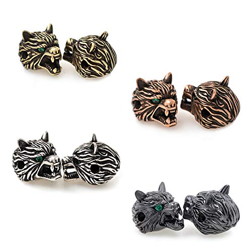 - Antique Bronze Wolf Head Men Bracelet Charms Spacer Beads DIY Jewelry Findings 11x14mm 10Pcs MixColor