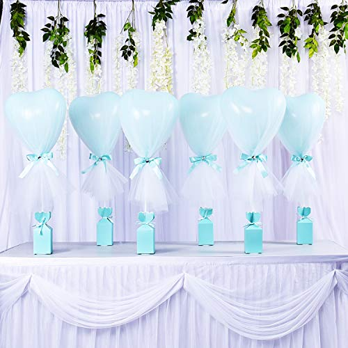 Tutu-Tulle-Balloons-Mint-Green-Heart-Balloons-Party-DIY-Balloon-Table Balloons for Baby Shower Weddings Birthday Princess Party Table Centerpiece Decorations 6 pack ()