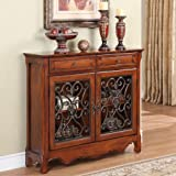Powell Light Cherry 2-Door, 2-Drawer Scroll Console