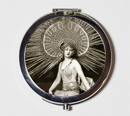 Flapper Ziegfeld Follies Compact Mirror 1920s Art Deco Dancer Make Up Pocket Mirror for Cosmetics (Flapper Dancer)