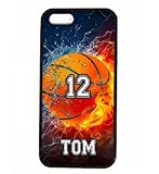 iPhone SE Case, ArtsyCase Thunder Water Fire Basketball Personalized Name Number Phone Case - iPhone SE (Black)