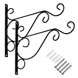 Sumnacon Metal Plant Hanging Bracket Hook - 2 Pcs 10'' Sturdy Wall Plant Hangers Indoor Outdoor Bracket for Hanging Bird Feeders,Lanterns,Planters,Wind Chimes,Ornaments with Screws (Black)