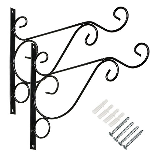 """Sumnacon Metal Plant Hanging Bracket Hook - 2 Pcs 10"""" Sturdy Wall Plant Hangers Indoor Outdoor Bracket for Hanging Bird Feeders,Lanterns,Planters,Wind Chimes,Ornaments with Screws (Black)"""