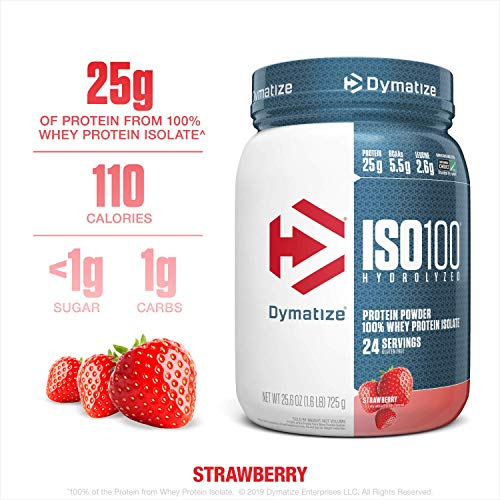 Dymatize ISO100 Hydrolyzed Protein Powder, 100% Whey Isolate Protein, 25g of Protein, 5.5g BCAAs, Gluten Free, Fast Absorbing, Easy Digesting, Strawberry, 1.6 Pound
