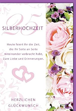 Karte Silberhochzeit Text.Karte Silberhochzeit 2 Herzen Rosen Spruch 5 Stuck Amazon