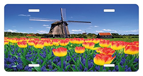 (Ambesonne Landscape License Plate, Tulip Blooms with Classic Dutch Windmill Netherlands Countryside Spring Picture, High Gloss Aluminum Novelty Plate, 5.88 L X 11.88 W Inches, Yellow Blue)