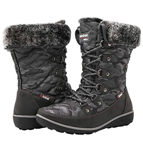 - GLOBALWIN Women's Grey Winter Snow Boots 8M US