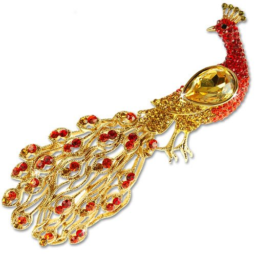 14k Gold Peacock - Janeo Stunning Large Feather Peacock Costume Jewelry Brooch Pin, 5 Star Reviews, 14K Gold, Womens Accessory Swarovski Crystal Elements Vintage Timeless Design, Any Age Christmas Gift Wrapped Under $40