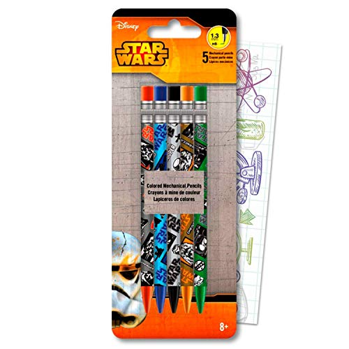 Star Wars Colored Mechanical Pencil Set Bundle Includes 5 Classic Pencils with Colorful Fun Separately Licensed GWW Bookmark