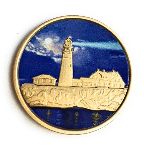 Lighthouse Medallion (Fog Light Prayer Color Lighthouse Bronze Step 12 Spiritual Medallion Pocket Token)