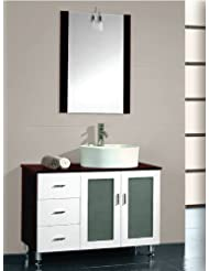 """38 Inch Modern Black Cherry Wood with White Porcelain Vessel Sink- """"Cooper"""" (Chrome Faucet)"""