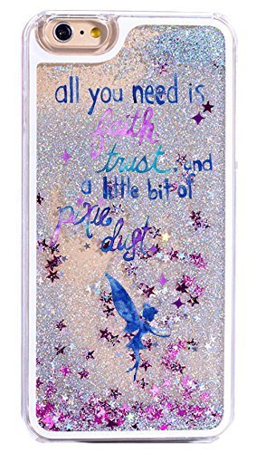 (iPhone 8 Plus / 7 Plus Compatible, Glitter Pixie Dust Faith Fairy Tale Angel Series Dynamic Hard Case Bumper Clear Cover - (Glitter Blue Fairy Faith))