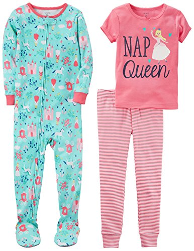Carter's Girls' Toddler 3-Piece Cotton Pajamas, Nap Queen, 3T ()