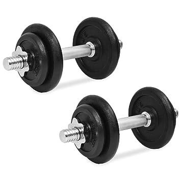 vidaXL Juego Mancuernas Hierro Fundido Fitness Musculación Gym: Amazon.es: Deportes y aire libre