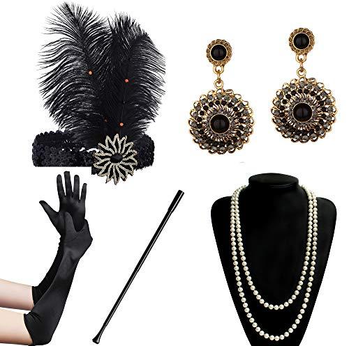 (BABEYOND 1920s Flapper Accessories Gatsby Costume Accessories Set 20s Flapper Headband Pearl Necklace Gloves Cigarette Holder (Set-129))