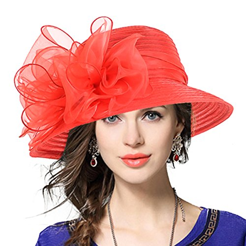 (Lady Derby Dress Church Cloche Hat Bow Bucket Wedding Bowler Hats (Red, Medium))