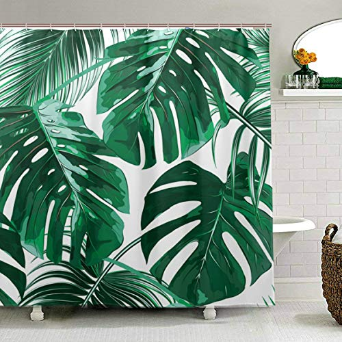 ZOEO Palm Tree Shower Curtain for Bathroom Green Tropical Hawaii Fabric Shower Curtain Set Jungle Leaves Backdrop 12 Hooks Waterproof Polyester Washable for Old Bathroom 72x72 inch