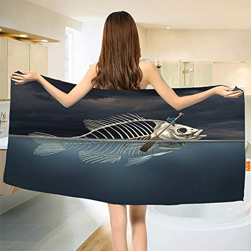 smallbeefly Surrealistic Bath Towel Man with Fish Skeleton in The Sea Kayaking Lifestyle Climate Illustration Bathroom Towels Blue Grey Cream Size: W 27.5