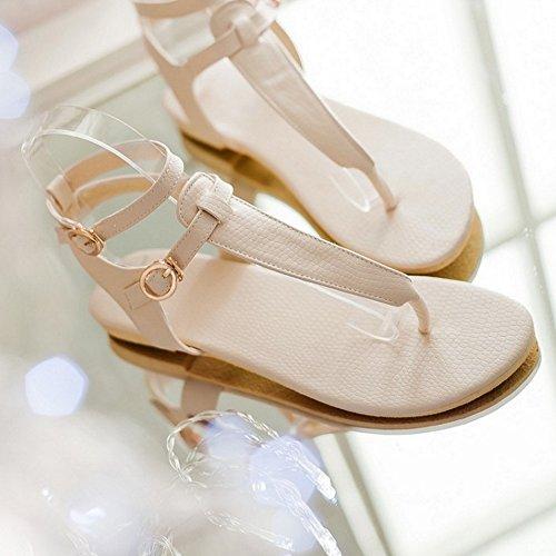 TAOFFEN Mujer Moda Clip Toe Open Back Sandalias T-strap Plano Al Tobillo Zapatos 771 Beige