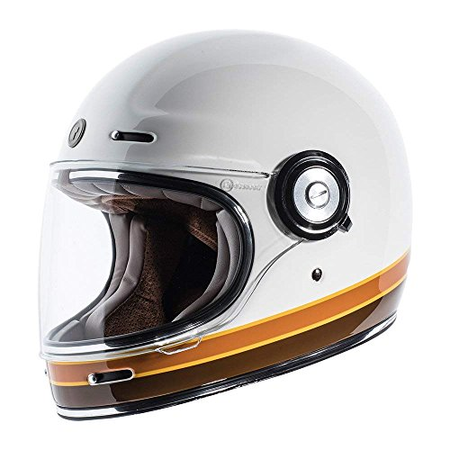 TORC T1 Retro Unisex-Adult Full-Face-Helmet-Style Motorcycle Helmet with Graphic (ISO Bars Gloss White,Medium), 1 Pack
