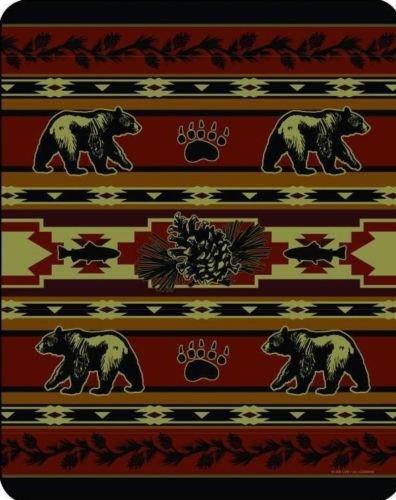 Black Bear pine cone paw print Mink Luxury Blanket Queen ...