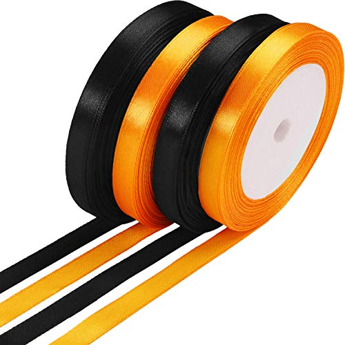 100 Yards Satin Ribbon Halloween Gift Wrapping Ribbon for DIY Gifts, 10 mm Wide(Black and Orange)