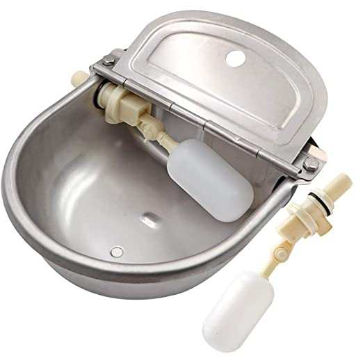 M.Z.A Bebedero para ganado Bebedero Recipiente de acero inoxidable Bebedero automático con válvula de flotador para perro Caballo Bovino Ganado Oveja