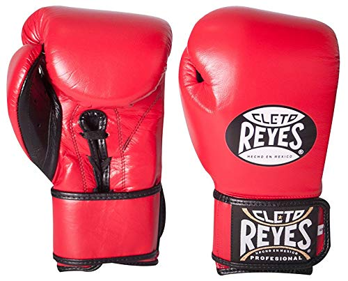Cleto Reyes Lace Up Hook and Loop Hybrid Fit Cuff Boxing Gloves, Red, Medium