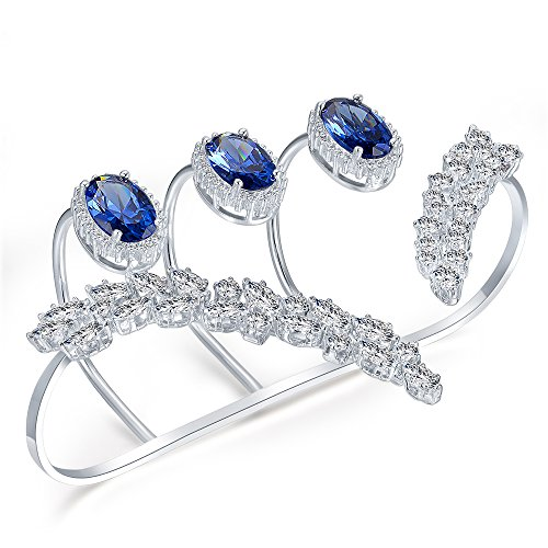 dnswez Blue Rhinestone CZ Cubic Zirconia Adjustable Multiple Finger Ring Palm Cuff Handlet for Women Silver Tone