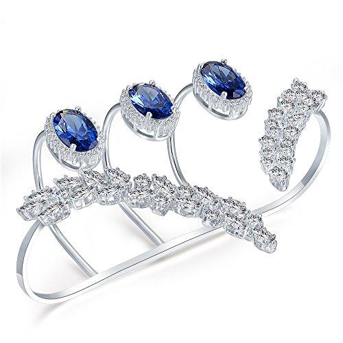 dnswez Blue Rhinestone CZ Cubic Zirconia Adjustable Multiple Finger Ring Palm Cuff Handlet for Women Silver Tone